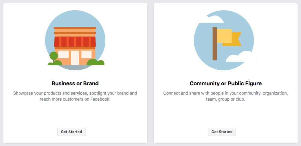 Facebook biznesa lapas izvēlne